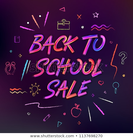 Back to School Sale Design with Colorful Pencil, Brush, Chalkboard and Other Learning Items on Squar Stock photo © articular
