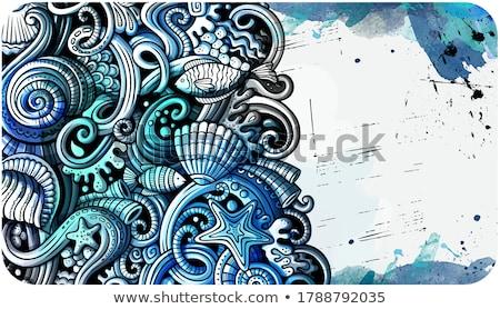 Mar vida dibujado a mano garabato banner Cartoon Foto stock © balabolka