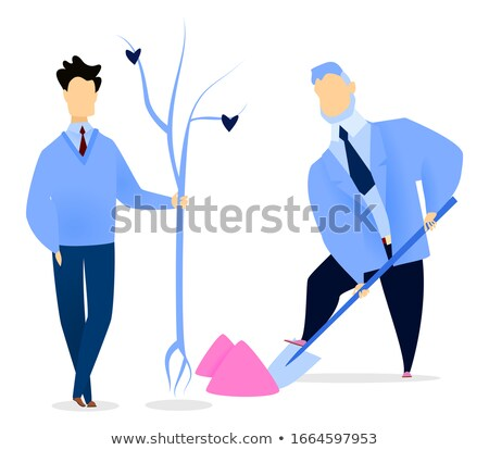 Businessman Digging Soil for Seedling Tree Vector Stock photo © robuart