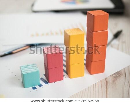 Speelgoed grafiek bar houten speelgoed blokken Stockfoto © goir