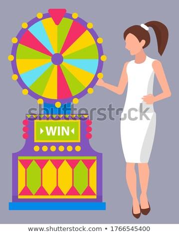 Meisje witte jurk roulettewiel jong meisje paardenstaart Stockfoto © robuart
