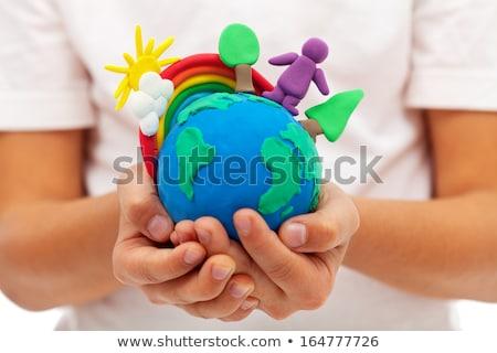 Creativa mano mundo hombre de negocios palabra solución Foto stock © sippakorn