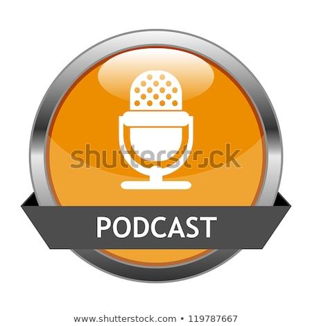 Parlak turuncu podcast düğme yalıtılmış beyaz Stok fotoğraf © cidepix