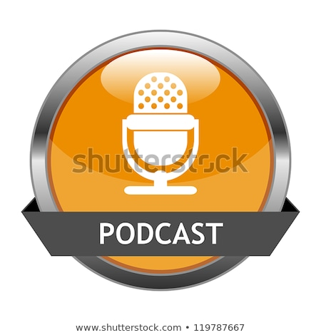 Glanzend oranje podcast knop geïsoleerd witte Stockfoto © cidepix
