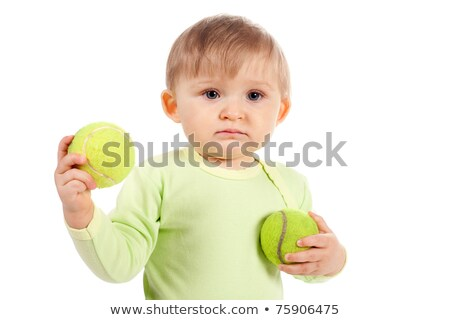 Small child in jeans with tennis ball Stock photo © vankad