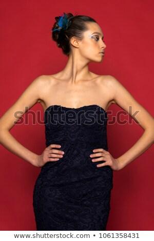 Barokk haute couture nő portré vámpír inspiráció függőágy Stock fotó © lunamarina