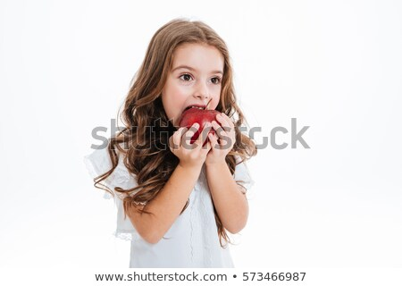iskolás · lány · tart · zöld · alma · portré · gyermek - stock fotó © photography33