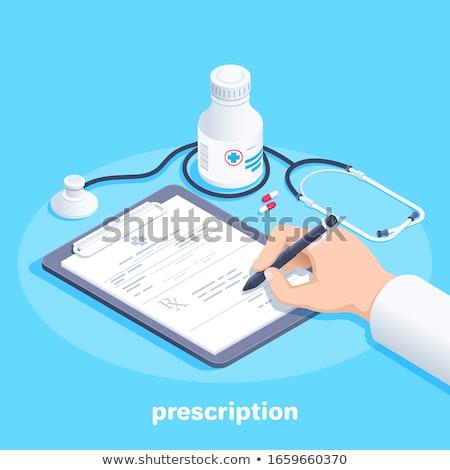 Vulling geneeskunde recept apotheker pillen handen Stockfoto © JamiRae