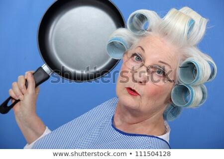 Anziani signora padella occhiali divertimento lotta Foto d'archivio © photography33