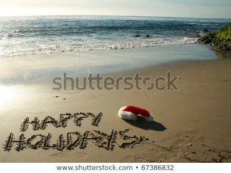 Foto stock: Palavra · férias · escrito · molhado · areia · decorado