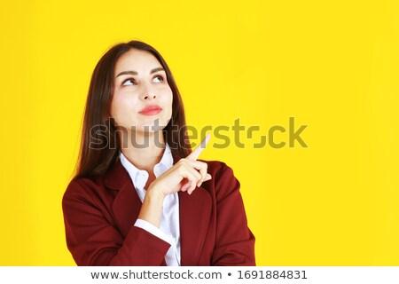 Ernstig vrouwelijke wijzend gelukkig werk achtergrond Stockfoto © wavebreak_media