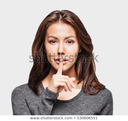 Closeup portrait of mysterious young woman. Isolated Stock photo © acidgrey
