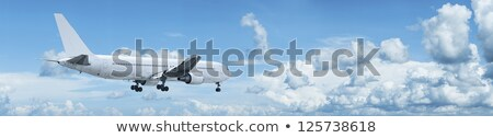 Panoramic composition of a jet with blank fuselage in a blue clo Stock photo © moses
