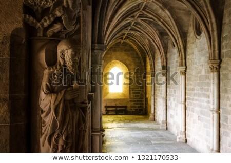 中世 日光 廊下 建物 壁 光 ストックフォト © Hofmeester
