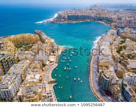 Naplemente Málta hajók kikötő gyönyörű égbolt Stock fotó © ElinaManninen