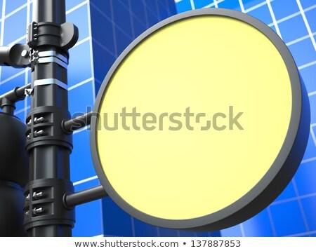 Blank Round Raodsign on Blue Background. stock photo © tashatuvango