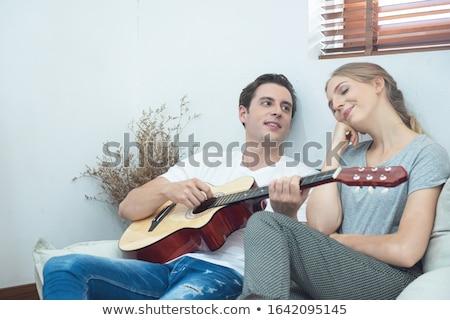 пару гитаре женщину семьи музыку любви Сток-фото © photography33
