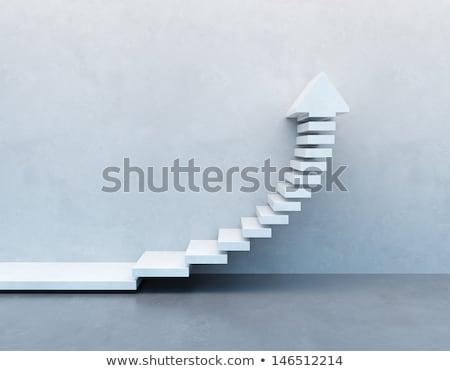 3D schody w górę działalności budynku tle Zdjęcia stock © digitalgenetics