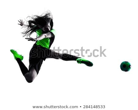 woman with football on white stock photo © elnur
