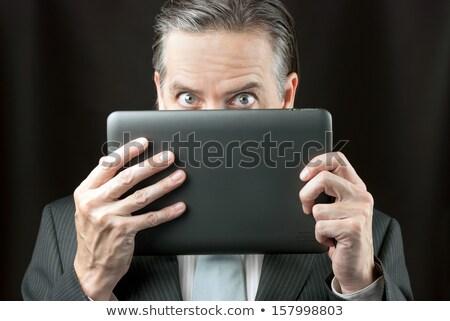 zakenman · tablet · man · gelukkig · model - stockfoto © jackethead