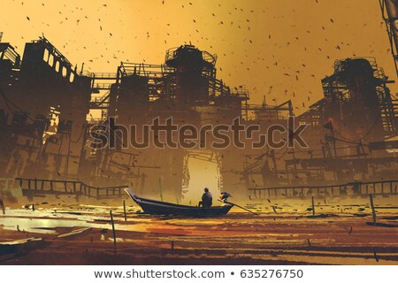 old abandoned industrial building at the river with ship stock photo © meinzahn
