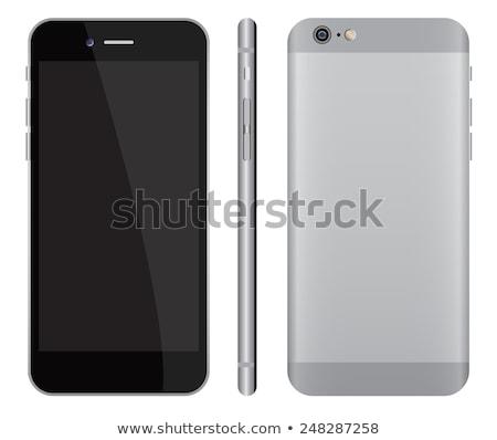 Lege realistisch witte smartphone Maakt een reservekopie Stockfoto © MPFphotography