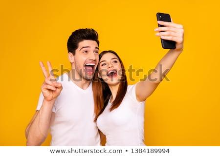 Gelukkig paar zelfportret glimlachend straat Stockfoto © d13