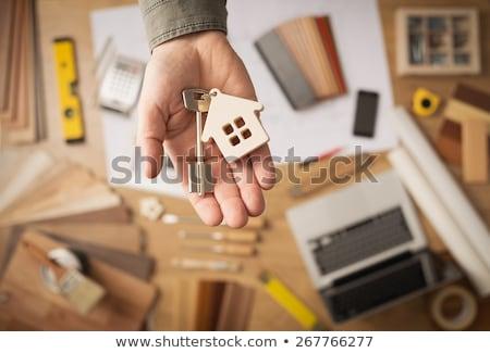 Hypothèque immobilier ours piège maison à l'intérieur Photo stock © idesign