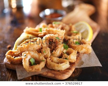 жареный · кальмар · продовольствие · обеда · пластина · лимона - Сток-фото © m-studio