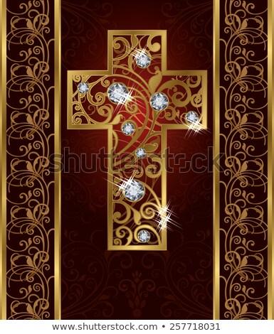 golden brilliant easter cross vector illustration stock photo © carodi