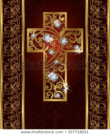 Gouden briljant Pasen kruis liefde frame Stockfoto © carodi
