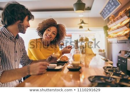Сток-фото: пару · завтрак · фото · счастливым · спальня · человека