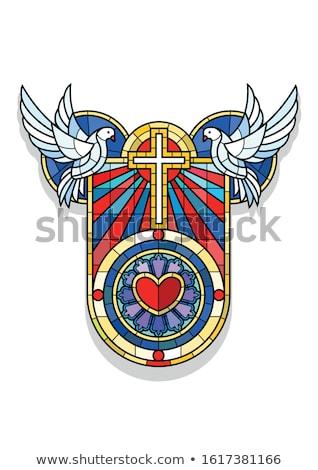 Vitrais escudo emblema vetor gráfico símbolo Foto stock © mikemcd