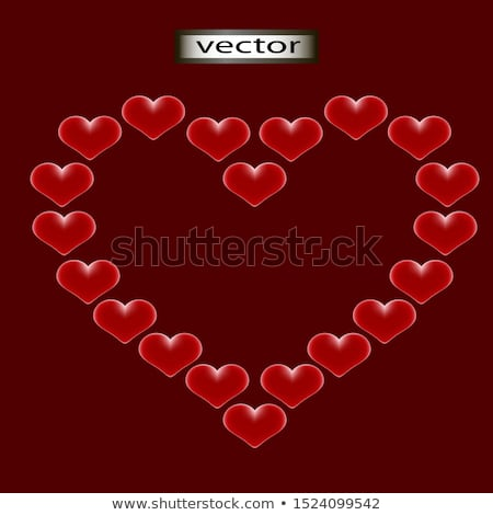 Stock photo: big heart of many velvet hearts