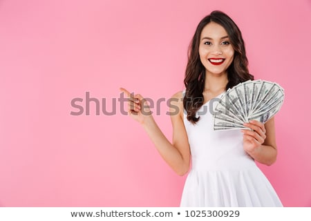 Beautiful young smiling woman with fan Stock photo © Aikon