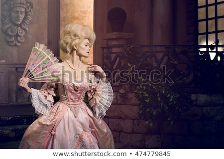 Victorian fashion with red lips. Stock photo © lubavnel