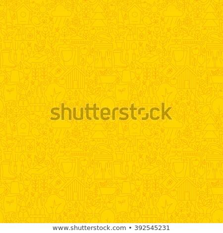 yellow garden thin line spring season seamless pattern stock photo © anna_leni