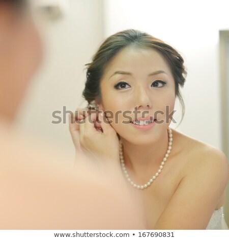 gyönyörű · fiatal · távolkeleti · menyasszony · esküvő · arc - stock fotó © zurijeta