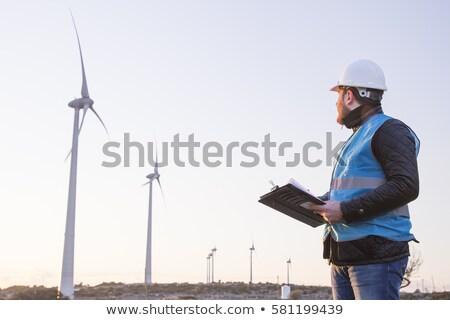 Wind molen macht generator Blauw heldere hemel Stockfoto © homydesign
