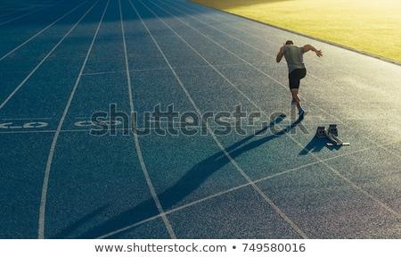 Läuft Leichtathletik Porträt jungen männlich Athleten Stock foto © deandrobot