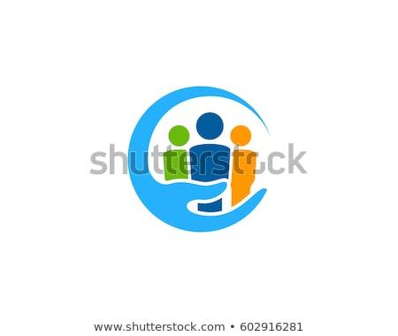 Społeczności opieki logo ręce spotkanie domu Zdjęcia stock © Ggs