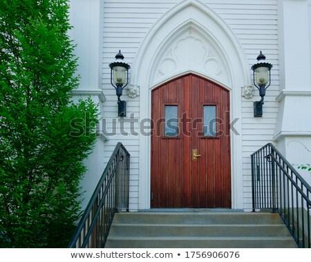 Vieux église entrée escaliers concrètes escalier Photo stock © compuinfoto