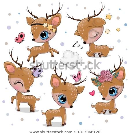Baba rénszarvas agancs karácsony illusztráció gyermek Stock fotó © adrenalina