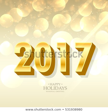 3d style golden 2017 letterting on beautiful bokeh background 商业照片 © SArts