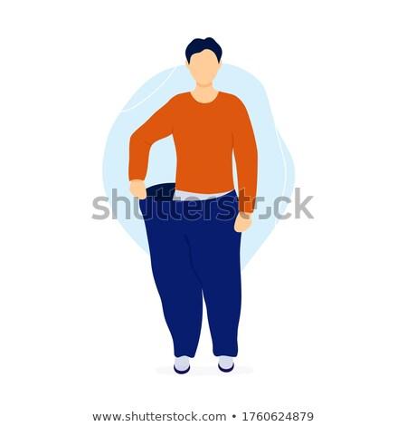 Slank man pants tonen resultaten dieet Stockfoto © RAStudio