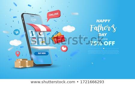 Férfi vásárlás online fiatal laptopot használ online vásárlás Stock fotó © RAStudio