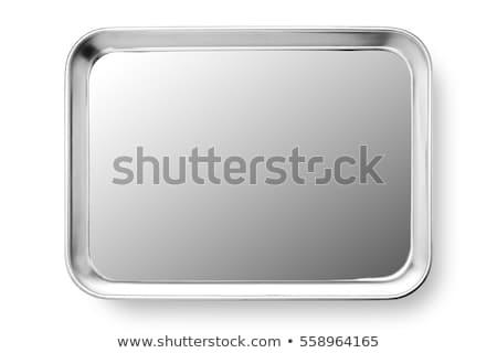 Tér ezüst tányér üres peremszegély tiszta Stock fotó © Digifoodstock