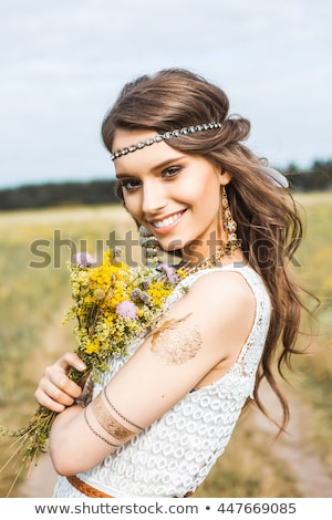 beautiful girl with flower accessories Stock photo © svetography