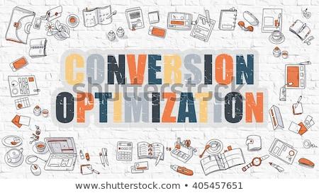 Conversion Marketing Concept. Multicolor on White Brickwall. Stock photo © tashatuvango