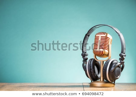 retro microphone and headphones Stock photo © AnatolyM